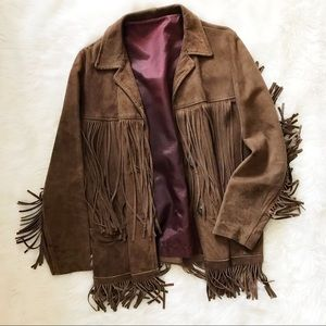 VINTAGE SUEDE FRINGE LEATHER OPEN JACKET